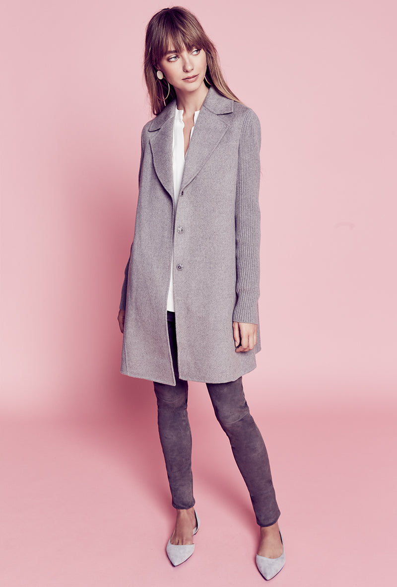 Rib Sleeve Notch Collar Coat