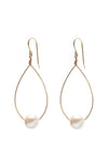 Oval Pearl Drop Earrings - Gold