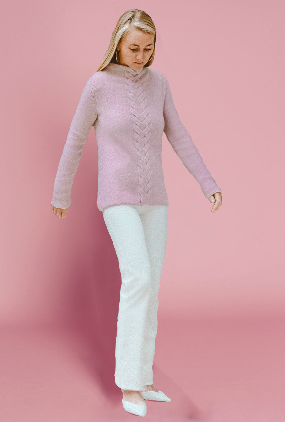 Mock Neck Cable Sweater - Blush