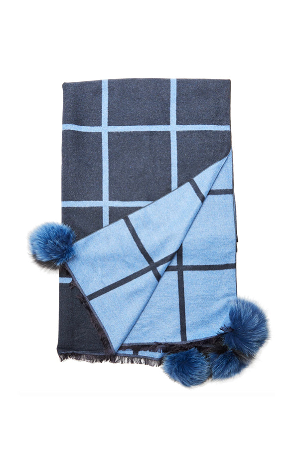 Window Pane Scarf - Navy