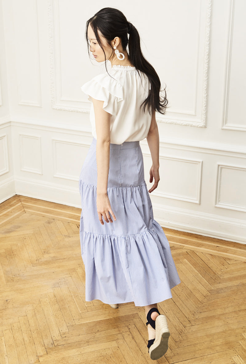 Tiered Midi Skirt - Blue Stripe