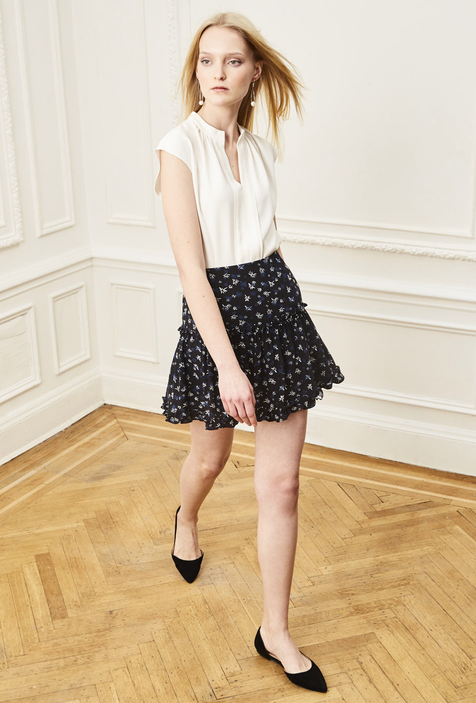 Dahlia Skirt - Black Navy Micro Flower