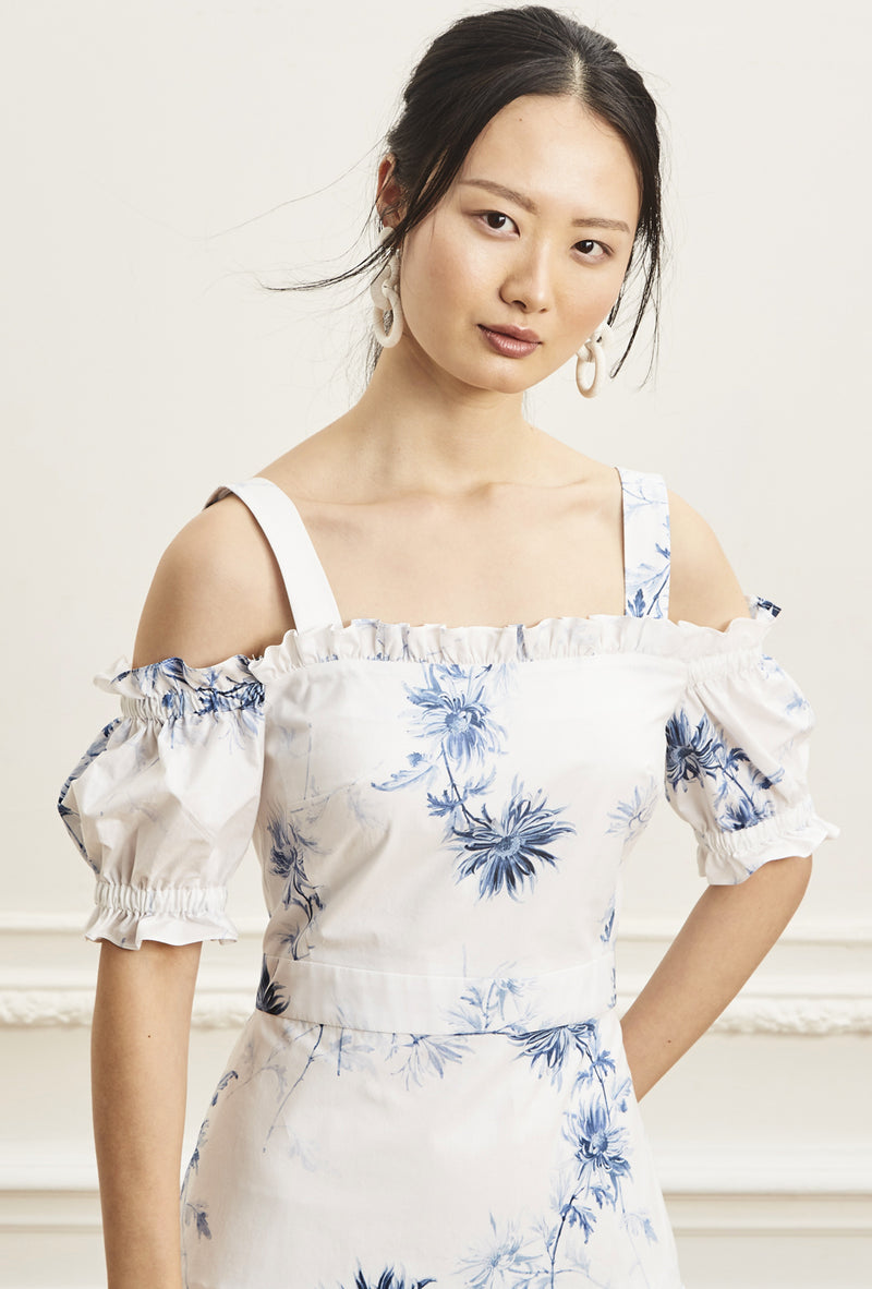 Off Shoulder Prairie Dress - Blue Daisy