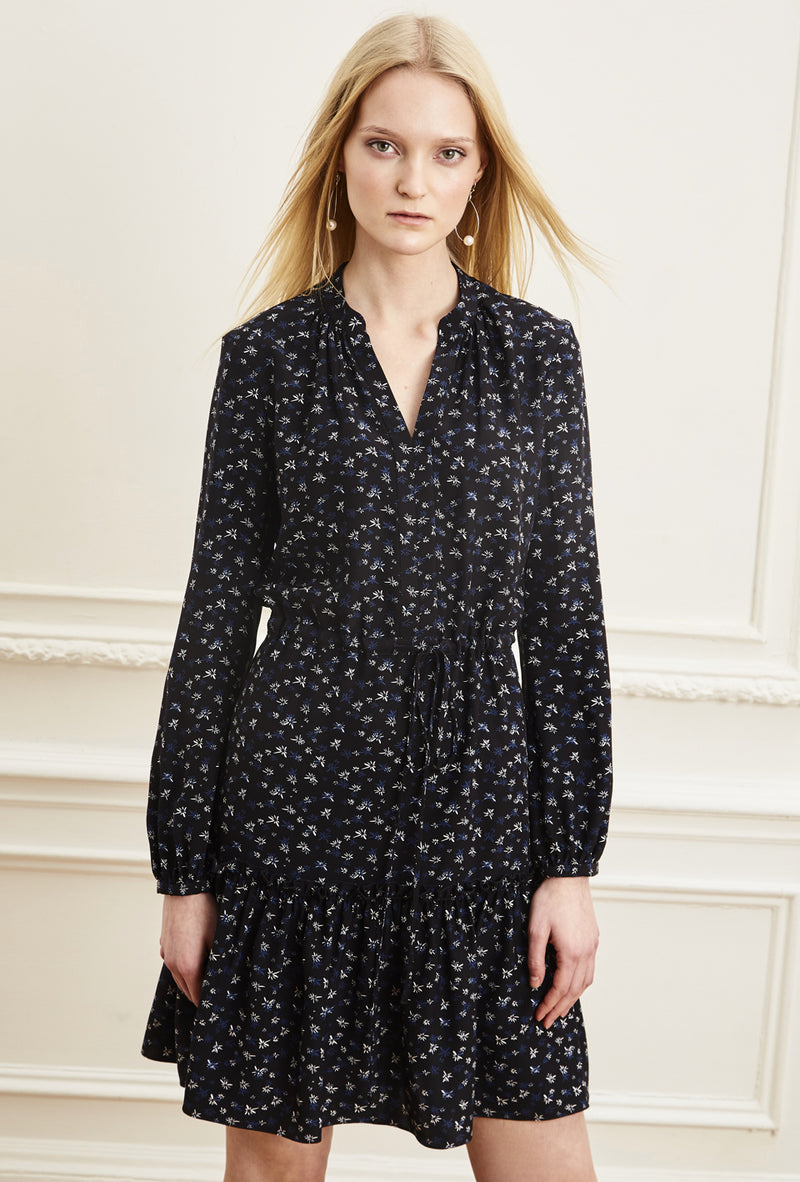 Fit and Flare Shirt Dress - Black Navy Micro Flower