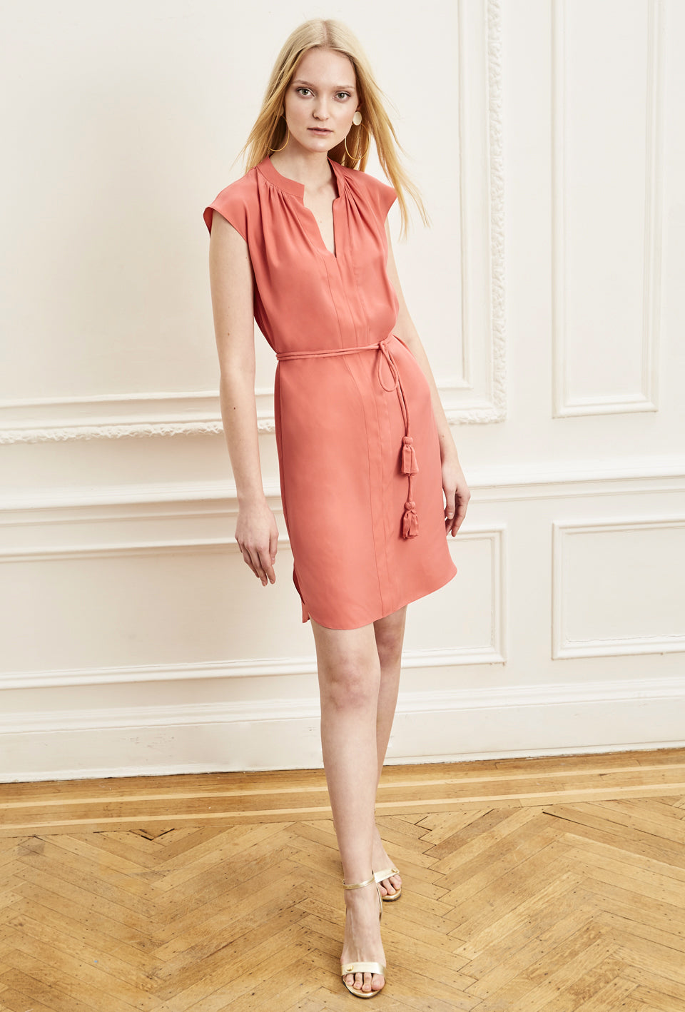 Sleeveless Shirt Dress - Coral