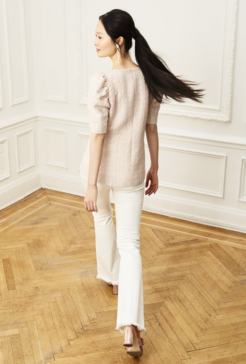 Ruched Sleeve Blouse - Peony Stripe