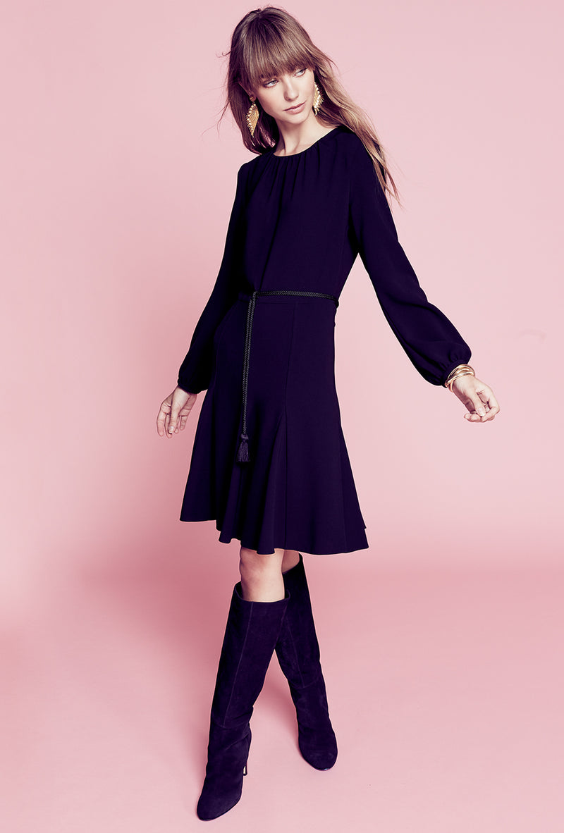 Godet Shirt Dress - Black