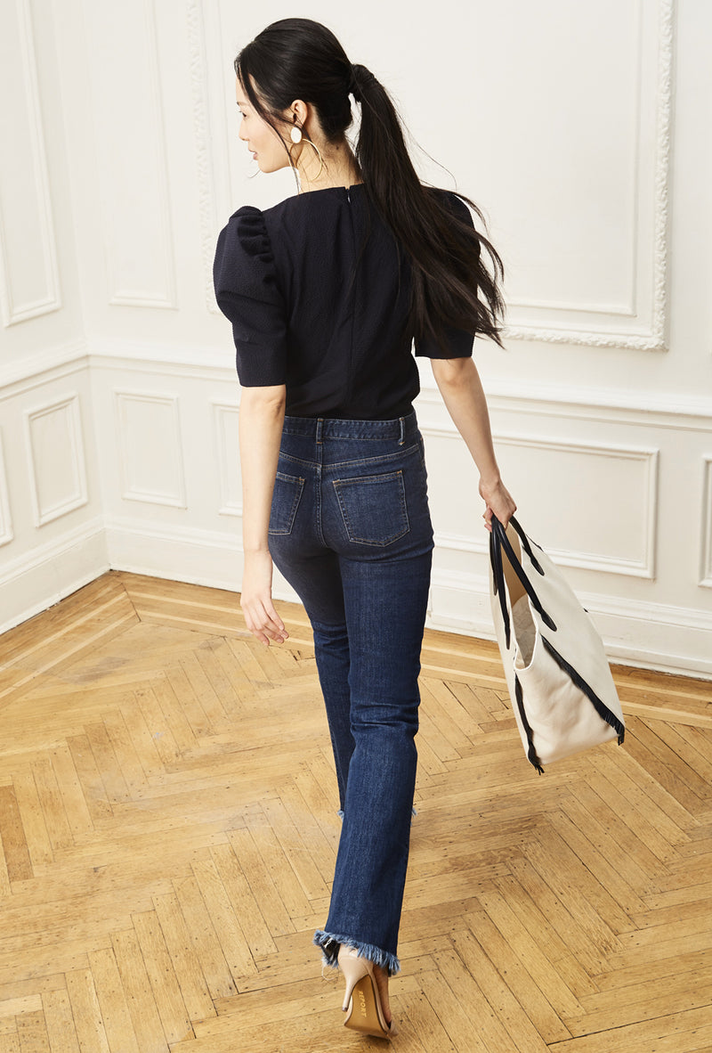 Ruched Sleeve Blouse - Navy