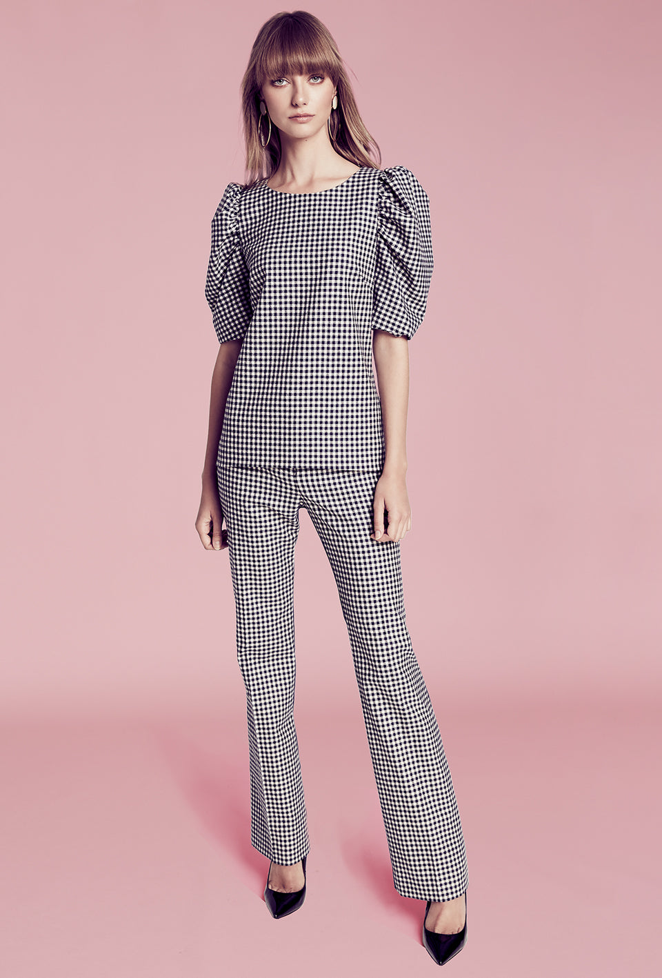 Ruched Sleeve Blouse - Navy Check