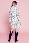 Ruffle Fit & Flare Dress - White Ginkgo