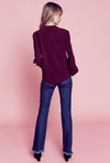 Long Sleeve Gathered Blouse - Burgundy