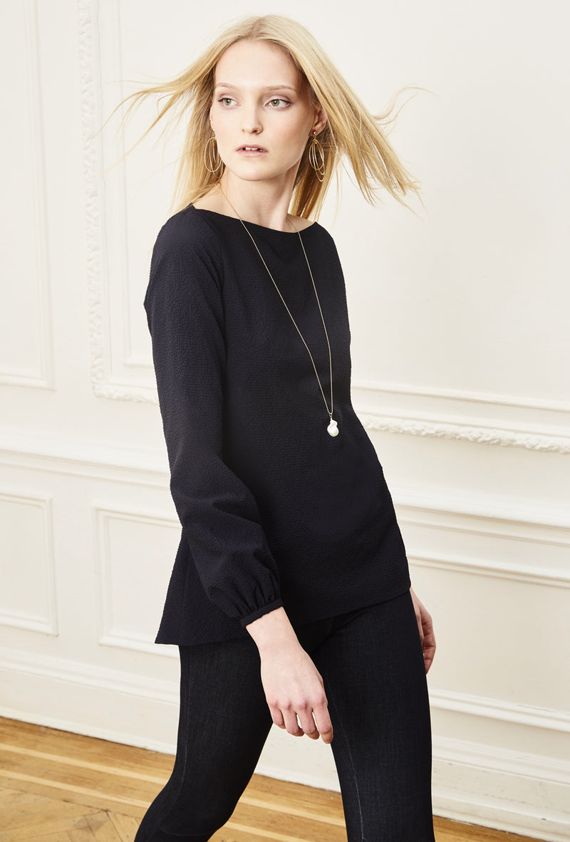 Boatneck Blouse - Navy Seersucker