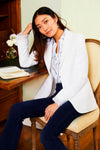Shawl Collar Blazer - White Tweed