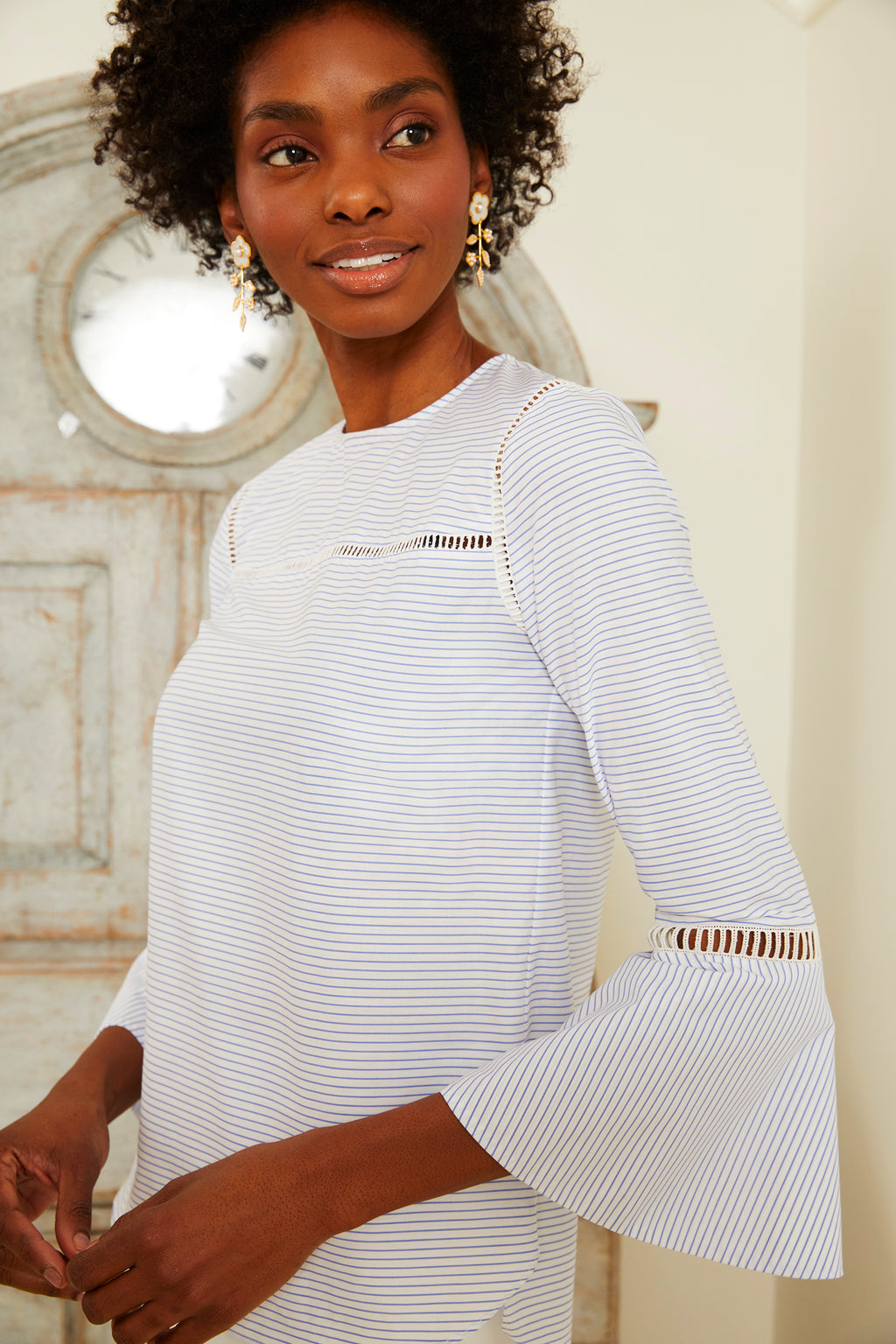Lattice Trim Blouse - Blue and White Stripe