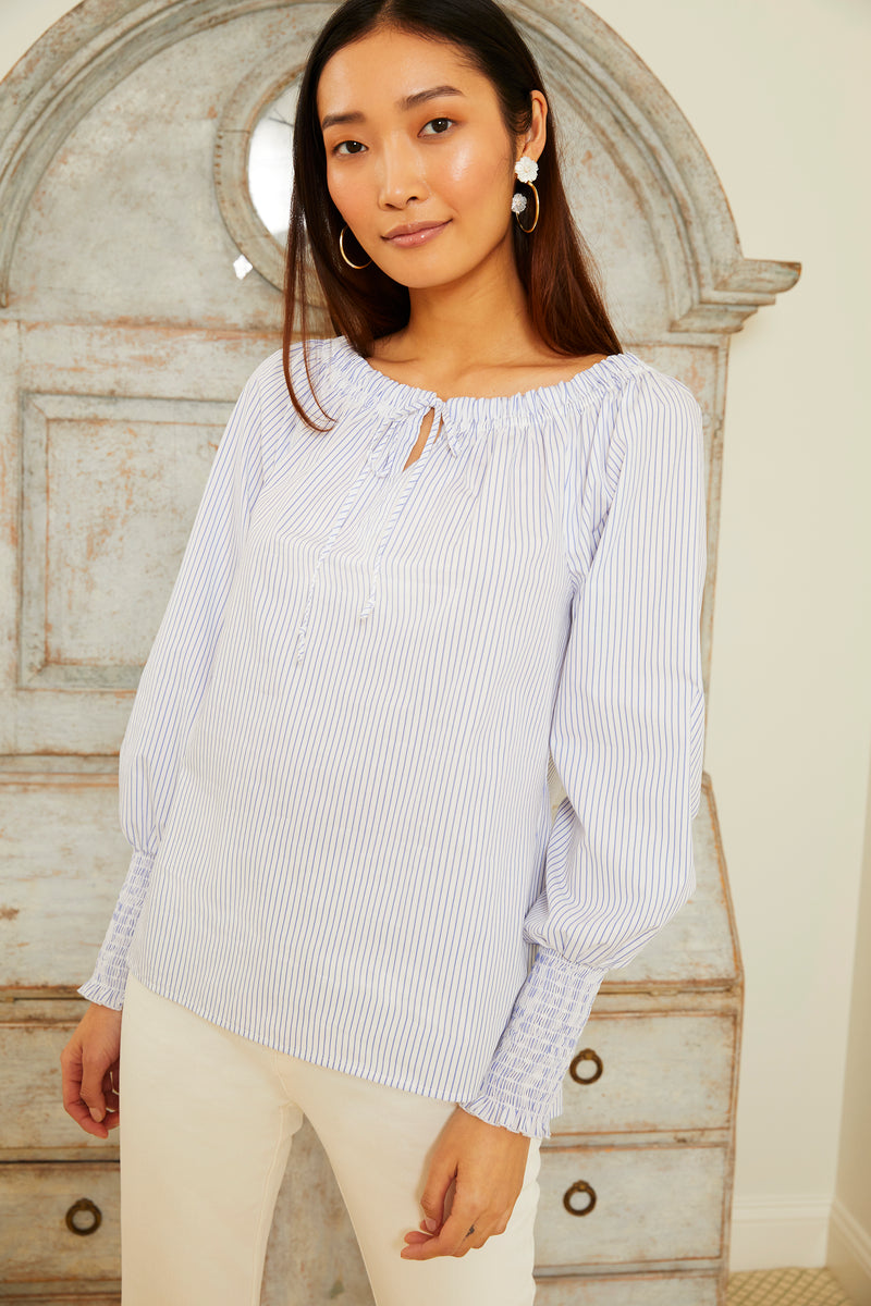 Jasmine Blouse - Blue and White Stripe