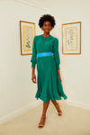Smocked Keyhole Midi Dress - Emerald