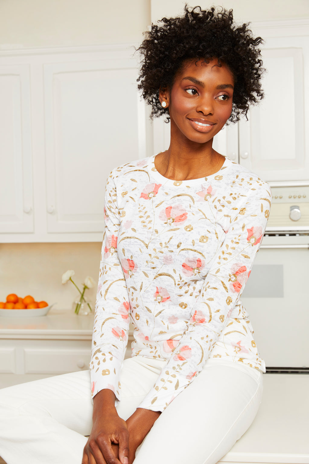Long Sleeve Waffle Burnout Tee - Blush Cottage Garden