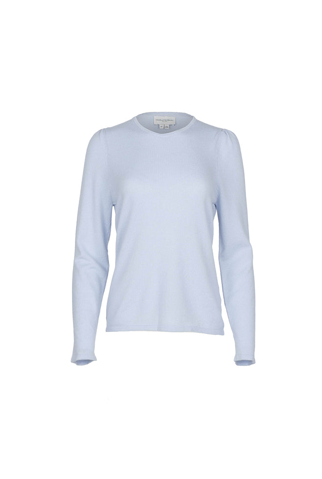 Gathered Sleeve Crewneck - Light Blue