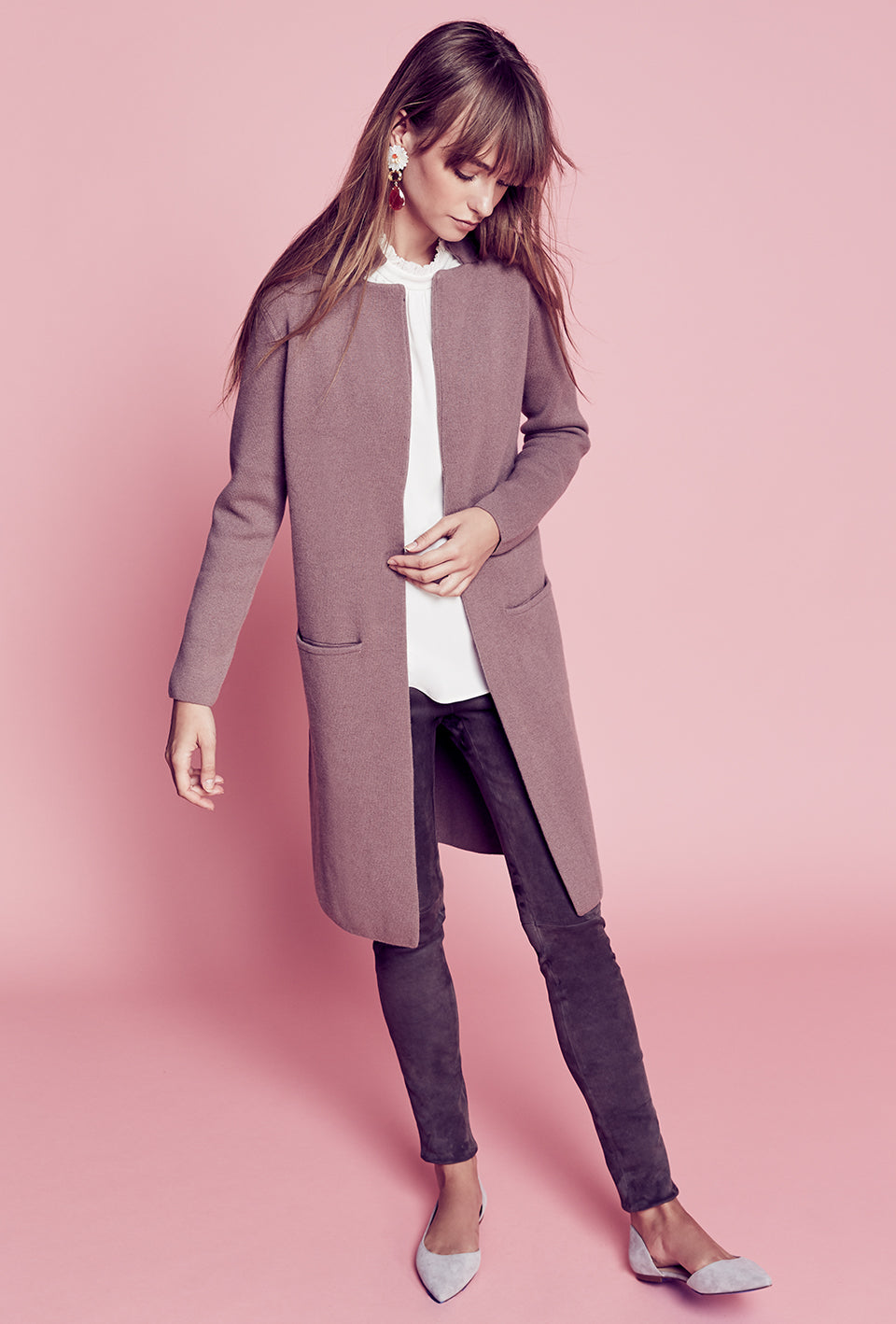 Notch Collar Cashmere Coat - Dusty Rose