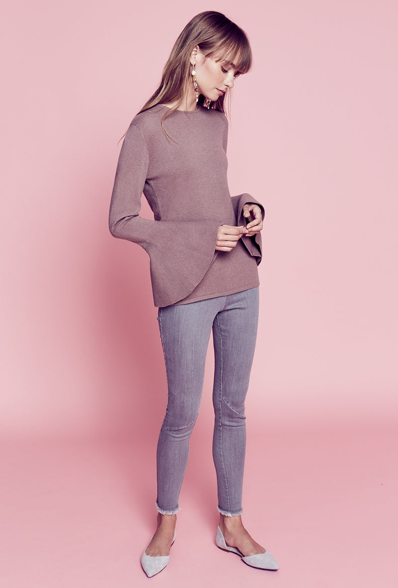 Flare Sleeve Sweater - Dusty Rose