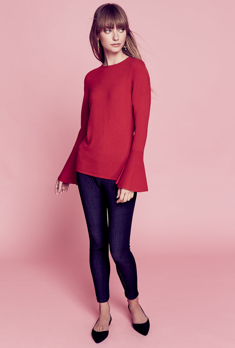 Flare Sleeve Sweater - Red