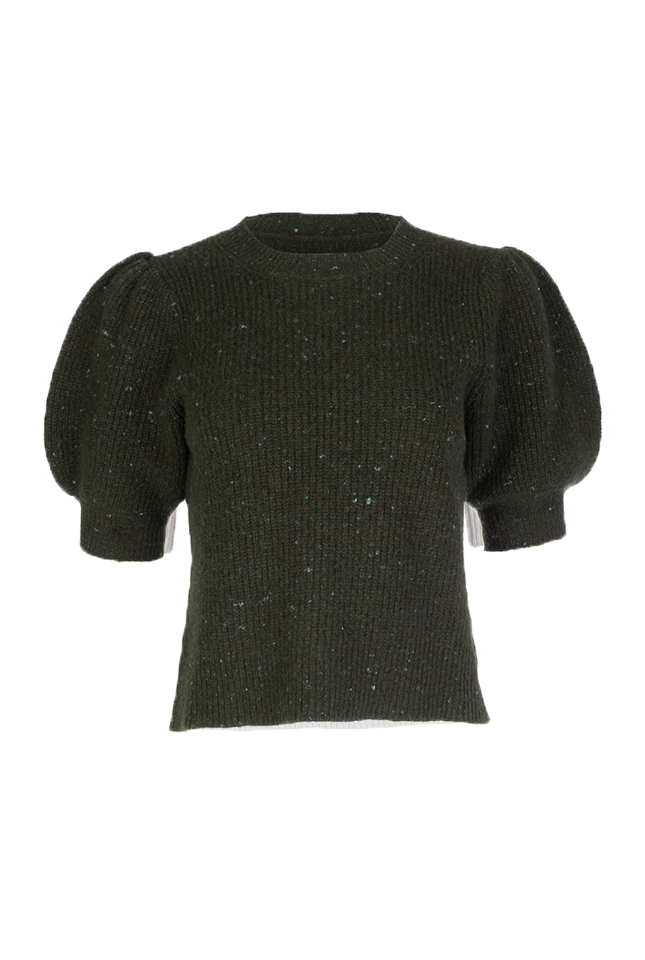 Cleo Pullover - Olive Fleck