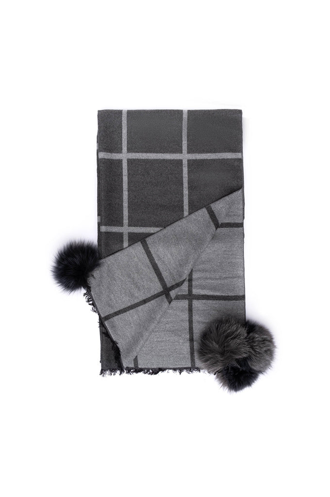 Window Pane Scarf - Charcoal