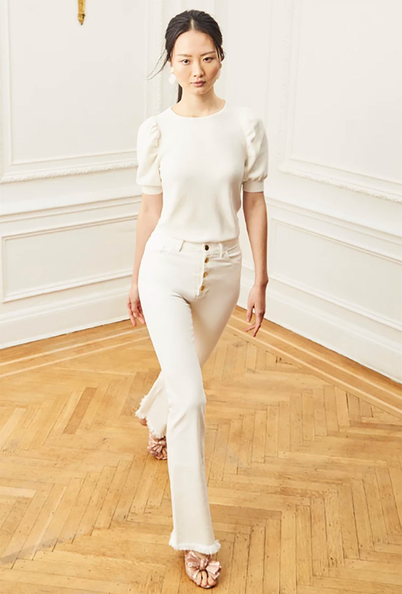 Ruched Sleeve Sweater - Ivory