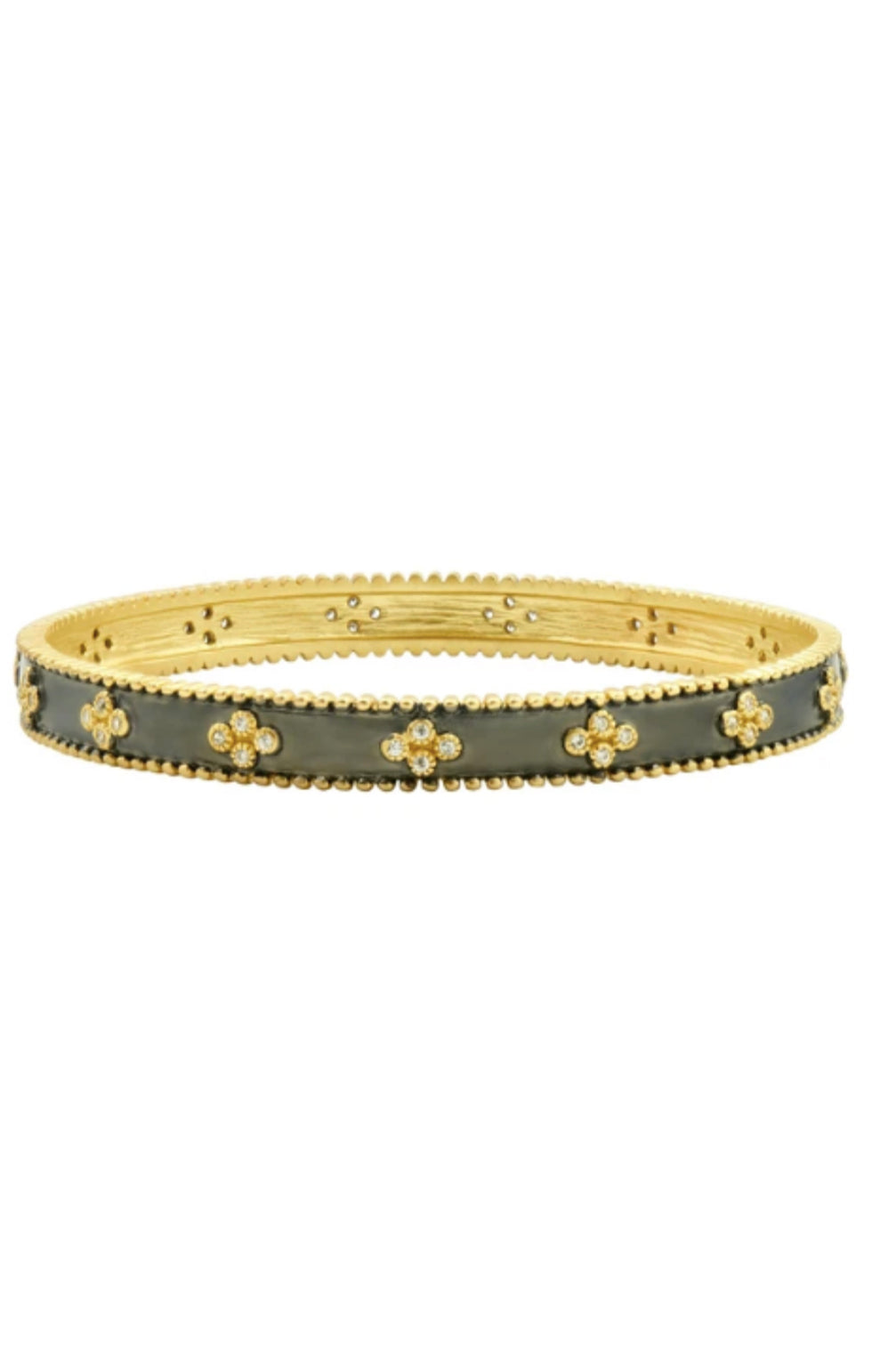 Clover Beaded Bangle - Gold and Black
