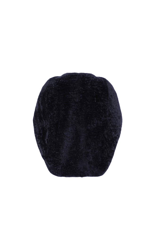 Shearling Cocoon Cape - Navy