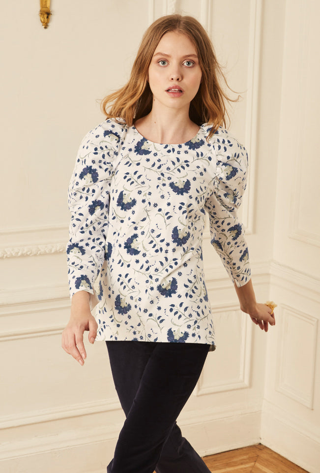 Raglan Ruched Sleeve Blouse - Indigo Lotus