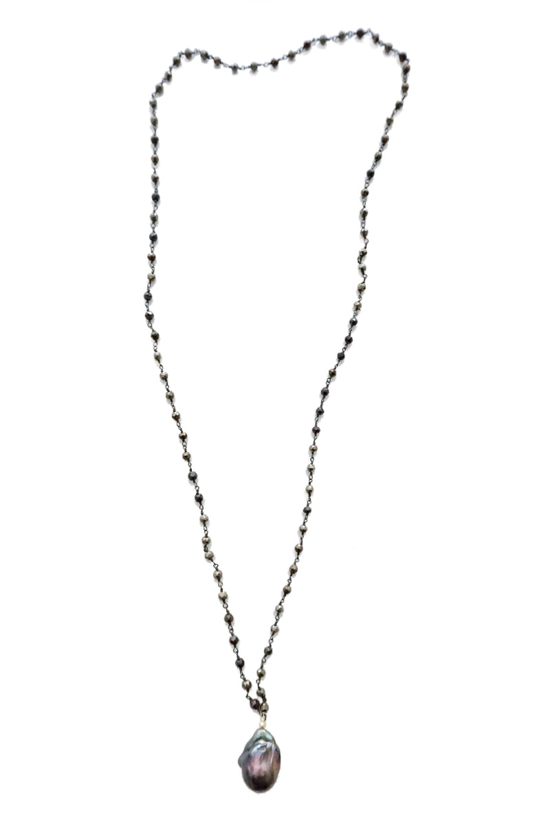 Baroque Pearl Pendant Necklace - Silver