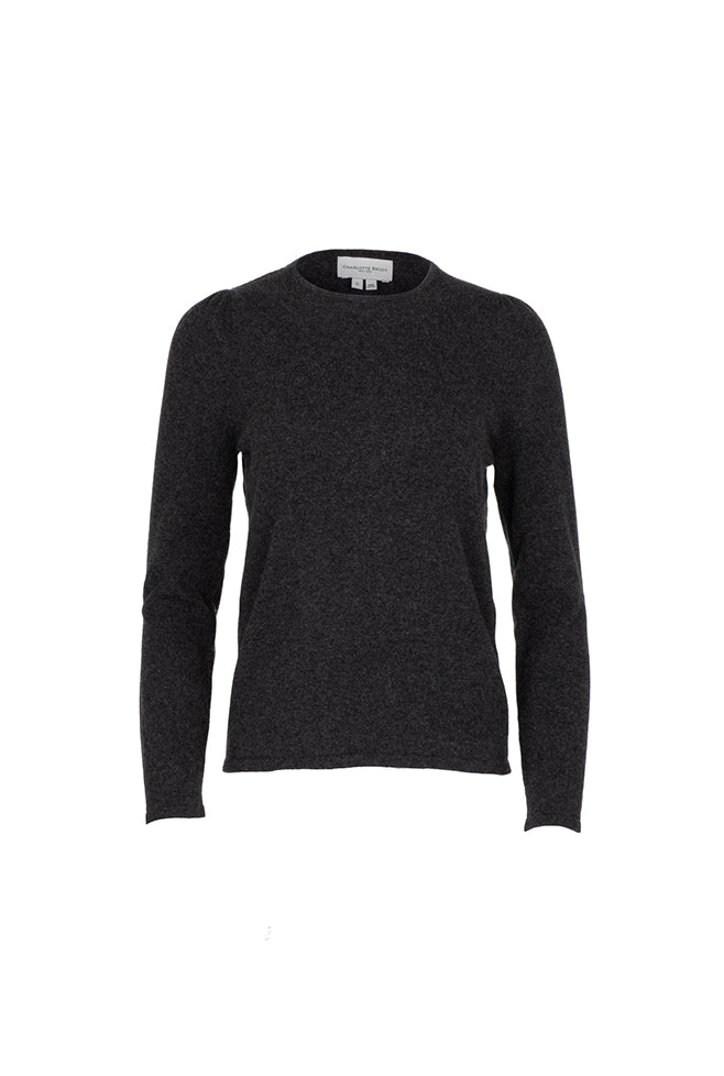 Gathered Sleeve Crewneck - Charcoal