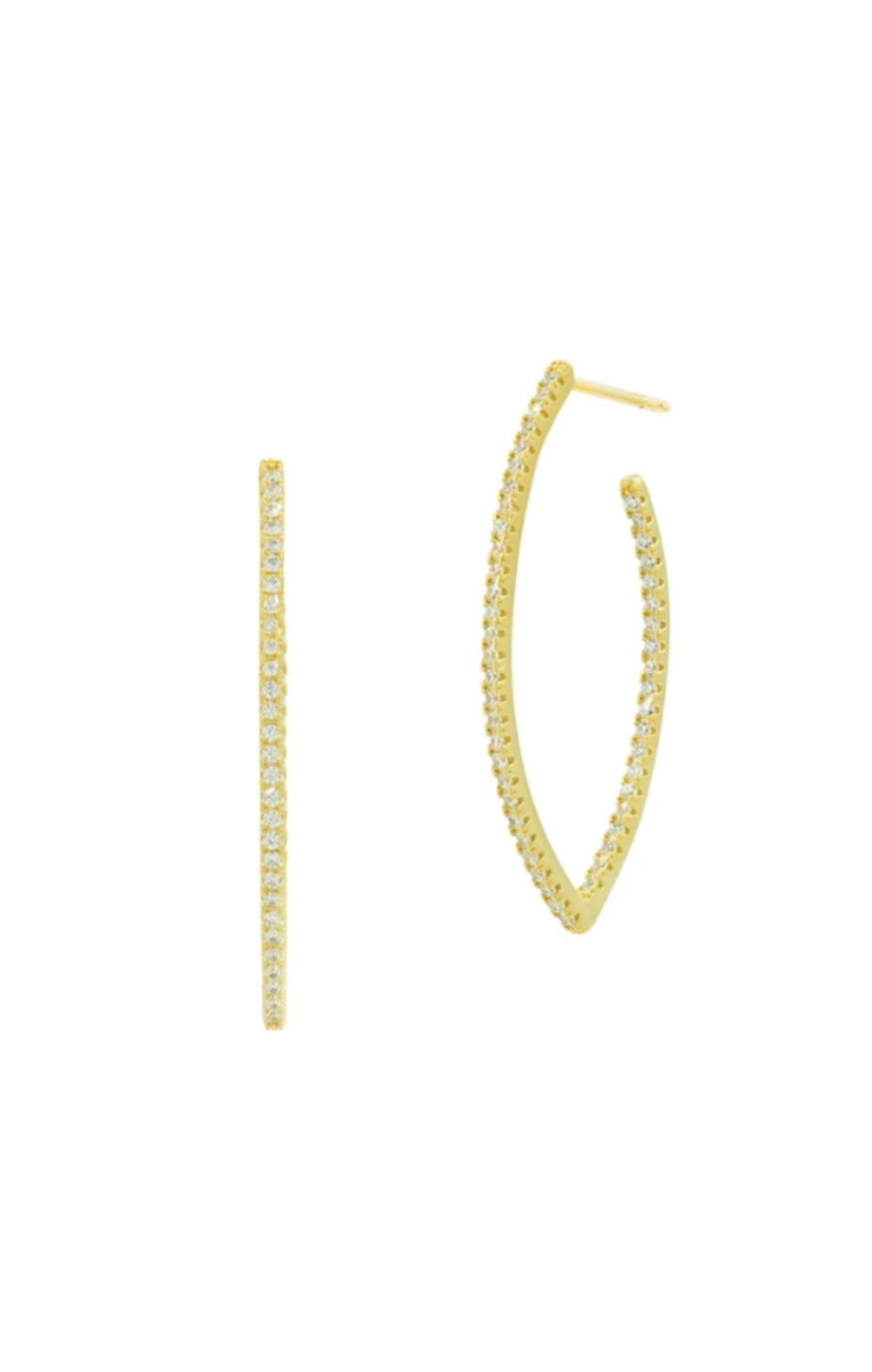Pointed Pave Hoop Earring - Gold - Pre-Order