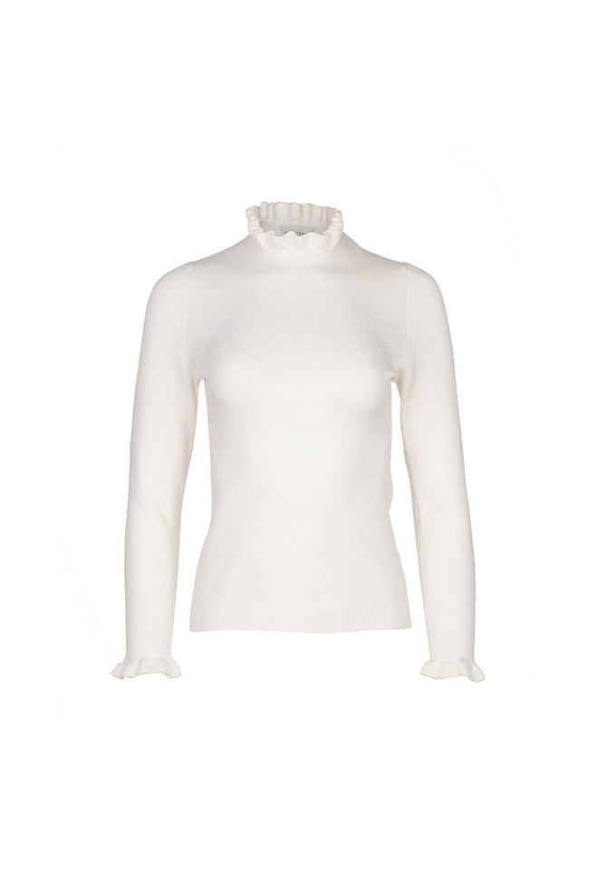 Ruffle Neck Sweater - Ivory
