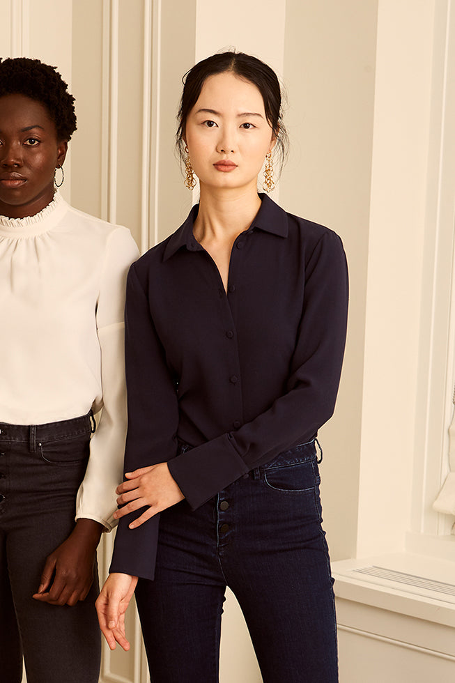 Classic Button Down Blouse - Navy
