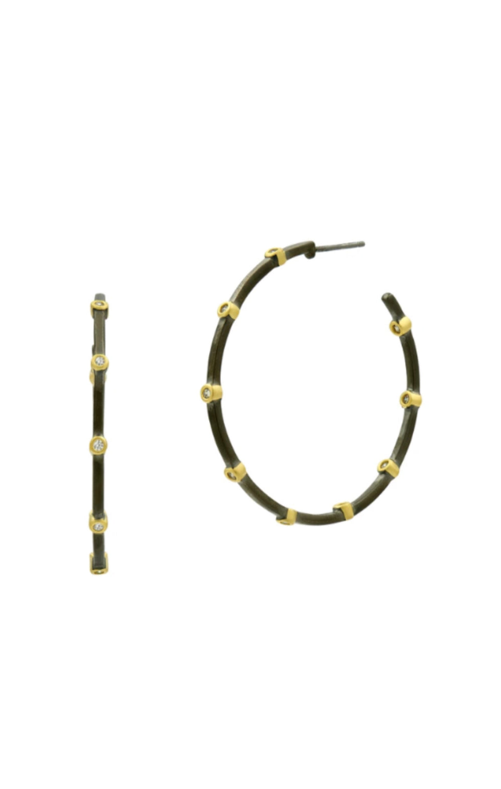 Thin Bezel Hoop Earring - Gold and Black Reverse - Pre-Order