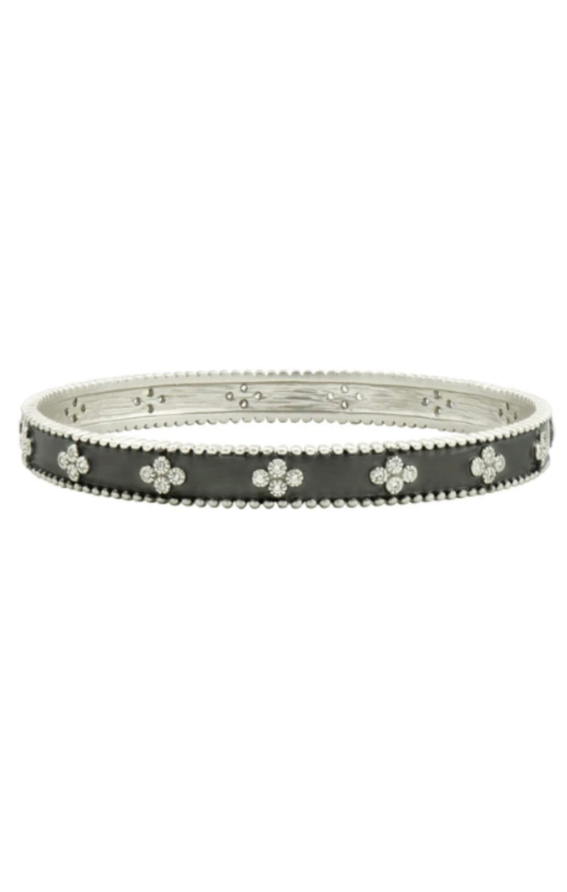Clover Beaded Bangle - Silver and Black