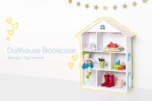 wildkin dollhouse bookcase