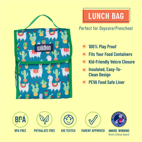 Llamas and Cactus Green Lunch Bag