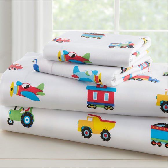Trains, Planes & Trucks 100% Organic Cotton Flannel Sheet Set