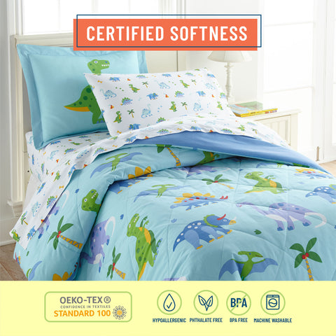 Dinosaur Land 100% Organic Cotton Flannel Sheet Set