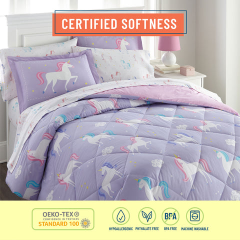Unicorn 100% Organic Cotton Flannel Sheet Set