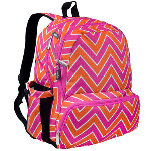 Zigzag Pink 17 Inch Backpack