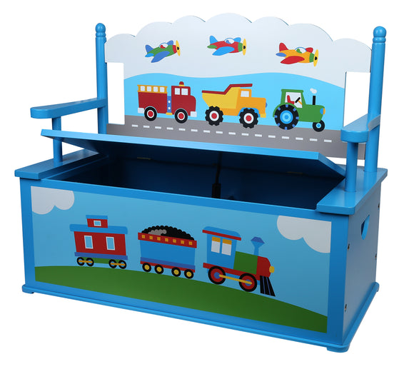 Trains, Planes, Trucks Bench Seat w/ Storage