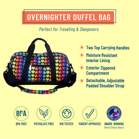 Rainbow Hearts Overnighter Duffel Bag
