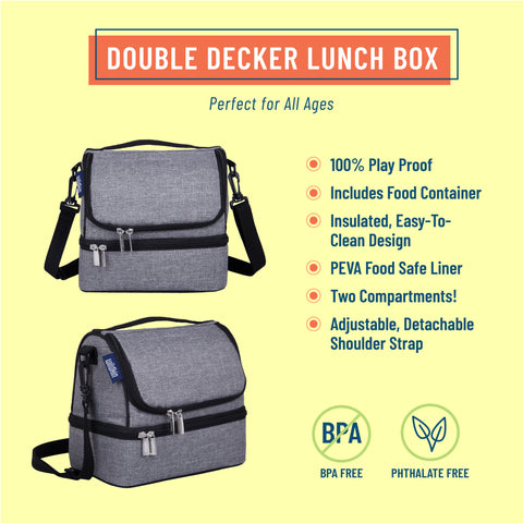 Gray Tweed Two Compartment Lunch Bag
