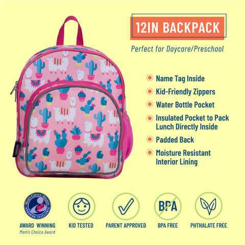 Llamas and Cactus Pink 12 Inch Backpack