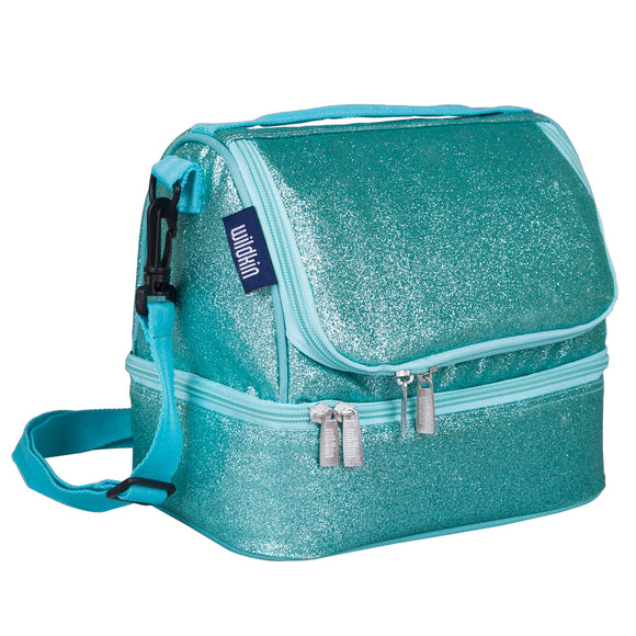 Blue Glitter Two Compartment Lunch Bag