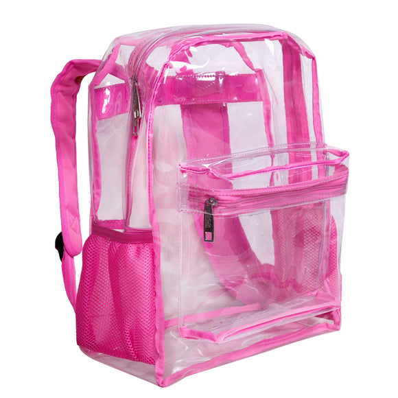 Clear w/ Pink Trim 16 Inch Backpack